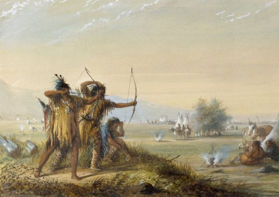 Miller, Alfred Jacob: Snake Indians - Testing Bows. Fine Art Print/Poster. Sizes: A4/A3/A2/A1 (003858)